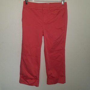 Old Navy Coral Capri Pants Size 8 Stretch Cuffed
